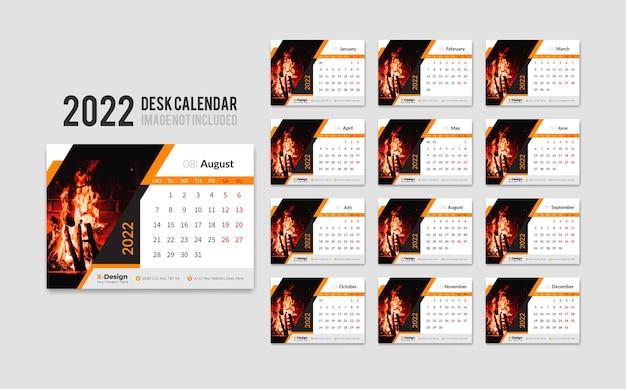 Desktop calendar for 12 months in 2022