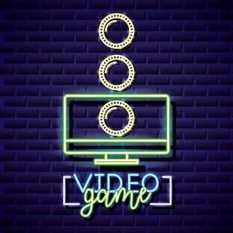 Desktop and coins, video game neon linear style