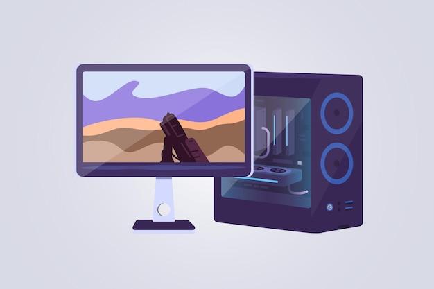 데스크톱 컴퓨터 및 디스플레이 벡터 아이콘. 게임 컴퓨터는 비디오 게임 개념을 재생할 수 있습니다. 게임 pc 그림.