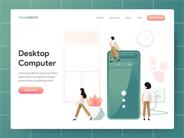 Desktop computer  banner of landing page concept