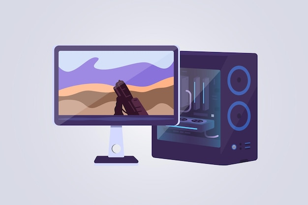 Desktop computer and display vector icons. game computers lets play video games concept. gaming pc illustration.