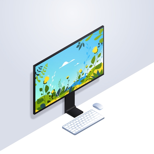 Desktop computer monitor with keyboard and mouse realistic mockup gadgets and devices concept