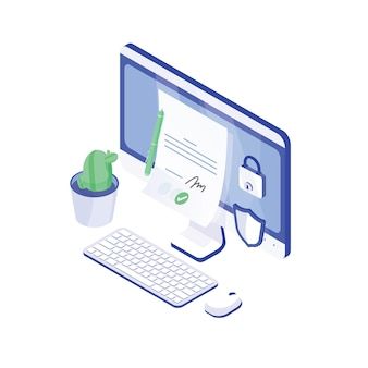 데스크탑 컴퓨터, 서명이 있는 종이 문서, 자물쇠 및 방패. 전자서명 또는 전자서명, 진위확인 안전하고 안전한 기술. 현대 아이소메트릭 벡터 일러스트 레이 션.