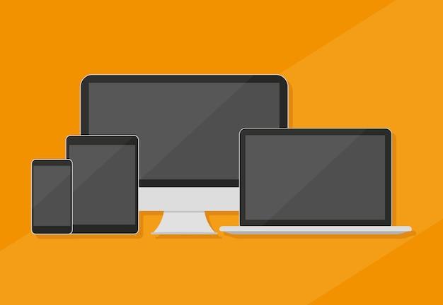 Desktop computer, smartphone, tablet and laptop, for website presentation