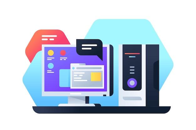 데이터 작업을 위해 최신 앱을 사용하는 데스크톱 컴퓨터. 웹 브라우저를 사용하는 모니터 및 인터페이스 화면이있는 시스템 장치의 고립 된 아이콘.