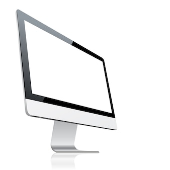 Desktop computer with blank screen, isolated