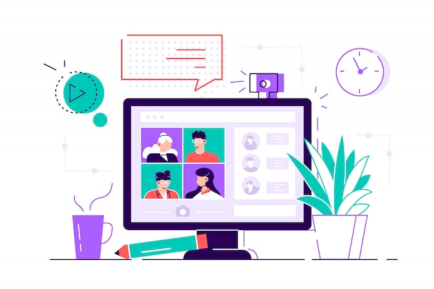 Desktop computer with group of colleagues taking part in video conference. software for videoconferencing and online communication. virtual work meeting. flat style modern  illustration for web