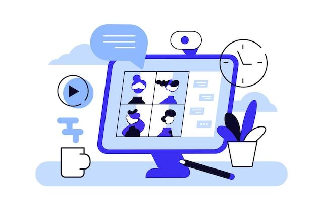 Настольный компьютер с группой коллег, принимающих участие в видеоконференции.