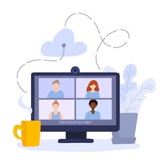 화상 회의에 참여하는 동료 그룹이있는 데스크톱 컴퓨터.