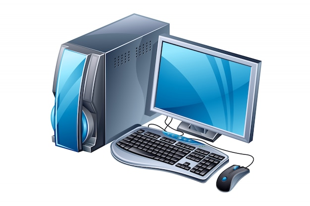 Desktop computer with keyboard and mouse