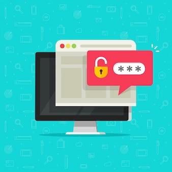 Настольный компьютер с разблокированным паролем пузырь уведомления плоский мультфильм