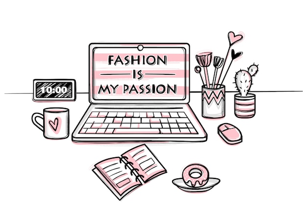 Desktop concept for girls. stylish workplace. vector fashion illustration.