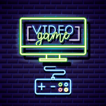 Desktop and control, video game neon linear style
