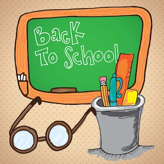 Desktop items back to school icons on vintage background