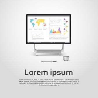 Настольный логотип современная компьютерная рабочая станция icon monitor финансовая диаграмма диаграммы infographic vector ill