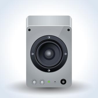 Desktop loudspeaker realistic icon
