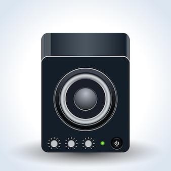Desktop loudspeaker realistic vector icon