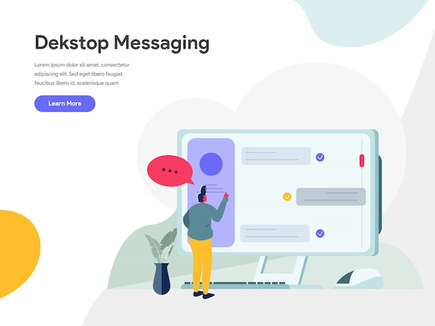 Desktop messaging illustration concept