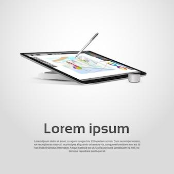 Desktop modern computer graphic designer workplace vector illustration