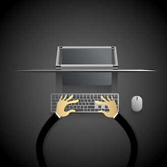 Desktop modern computer workstation hands typing keyboard