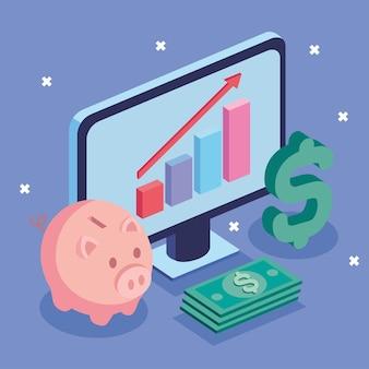 Desktop and money icons