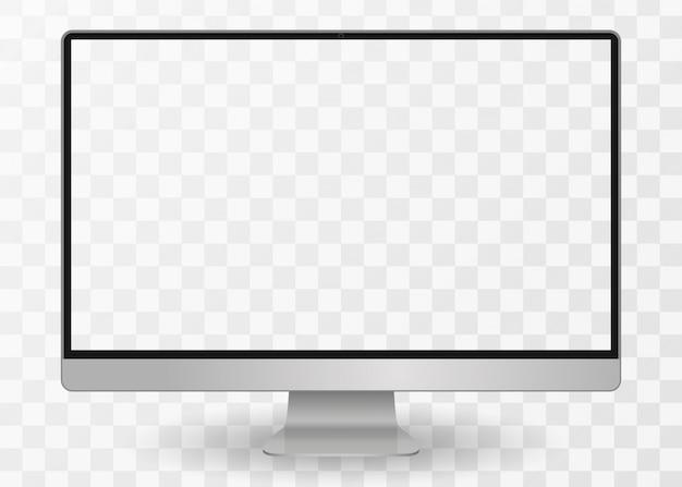 デスクトップpc 。背景に分離された空白の画面とモニターの表示。図。