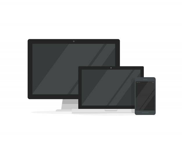 반응 형 디자인을위한 노트북 컴퓨터 및 스마트 폰이 포함 된 데스크탑 pc