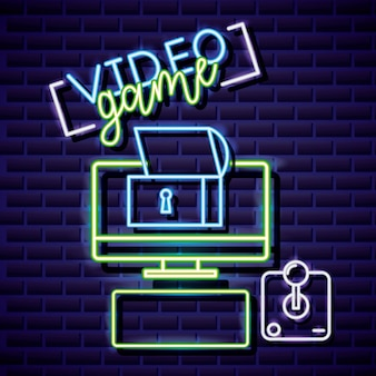 Desktop, vault and joystick, video game neon linear style