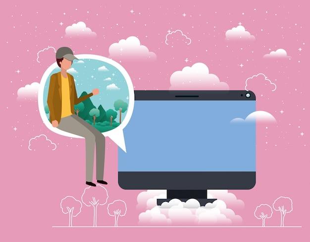 Desktop with boy seated in speech bubble