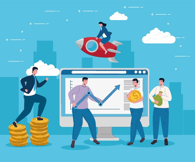 Desktop with man lifting statistics arrow and business people