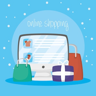 Desktop with online shopping technology