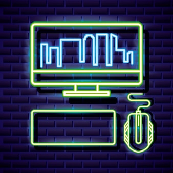 Desktop with skyline, keyboard and mouse, video game neon linear style