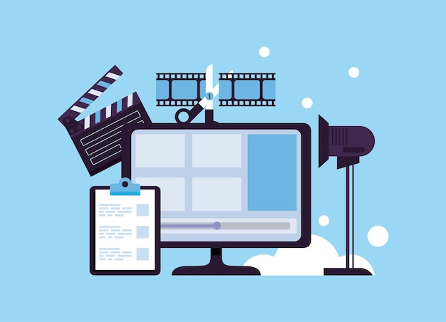 Desktop with video production set icons