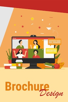 가상 회의 또는 화상 회의 격리 된 평면 벡터 일러스트와 함께 데스크톱. 온라인 동료와 이야기하는 컴퓨터 화면에 만화 사람들. 집단 채팅 및 디지털 기술 개념