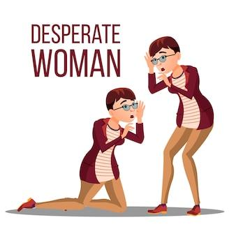Desperate woman. stress desperate person. woman girl scream. anger, shok