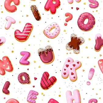 デザートアルファベットシームレスパターン。焼き菓子やドーナツから作られたカラーフォントケーキに、装飾的な文字や数字が付いた子供向けのクリーム色の教育用スイーツが付いています。ベクトル漫画キャラメル。