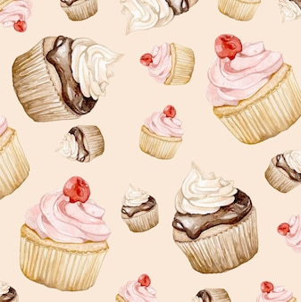 Dessert background painted in watercolor