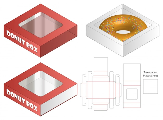 Десертная упаковка высечки шаблон дизайна. 3d