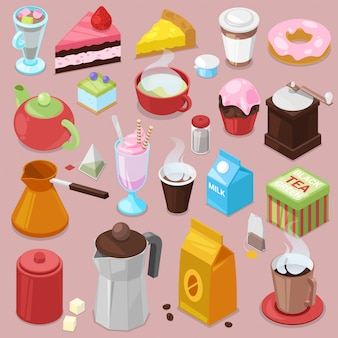 Dessert cake  drink coffee or tea with baked cupcake and sweet doughnut in cafe illustration set of coffeecups and caked biscuits from menu in coffeeshop isolated on background