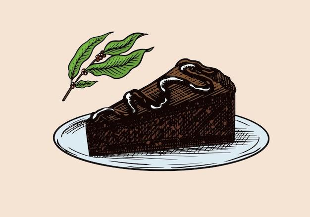 디저트. 초콜릿 케이크와 지점.