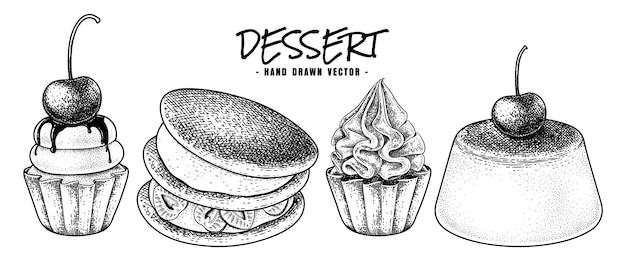 Dessert collection hand drawn sketch vector. cupcakes, dorayaki, and custard pudding