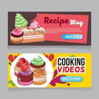 Dessert doodle web banner