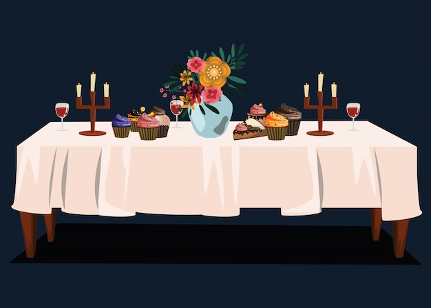 Dessert and flower on table vector illustration