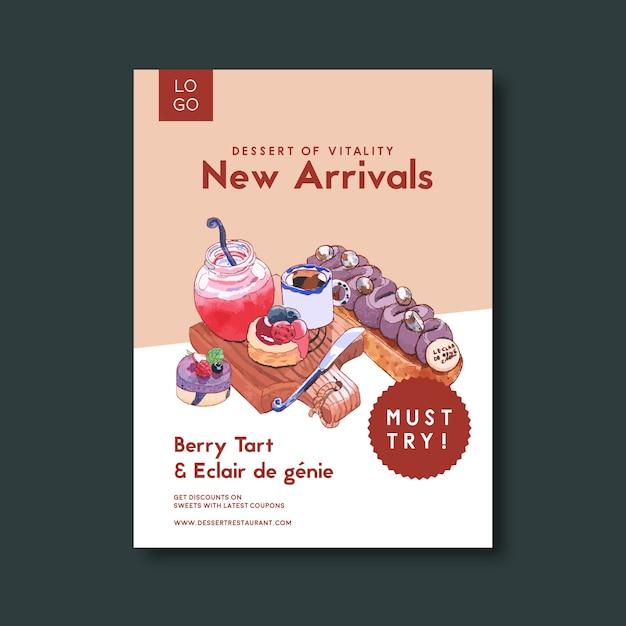 Dessert flyer design with bread, cream, mousses, tart, jam watercolor illustration.