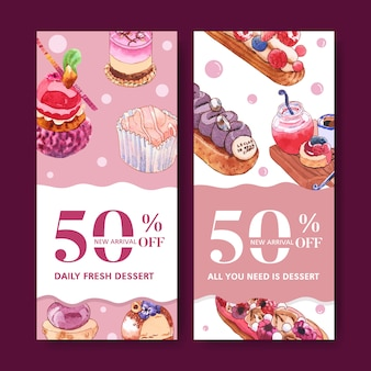 Dessert flyer design with cupcake, bread, creative element watercolor isolated illustration.