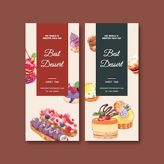 Dessert flyer design with cupcake, cookie, tart cake watercolor isolated illustration.