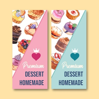 Dessert flyer design with cupcake, pie watercolor, creative colorful isolated illustration.