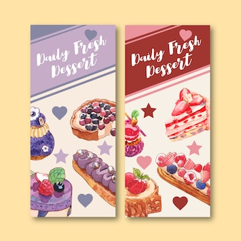 Dessert flyer design with fruit tart, cupcake, strawberry cake watercolor isolated illustration.