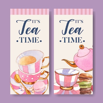 Dessert flyer design with macarons, teapot, cup, teaspoon watercolor illustration.