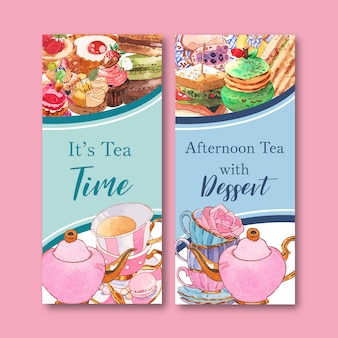Dessert flyer design with macarons, teapot, cupcake watercolor isolated illustration.